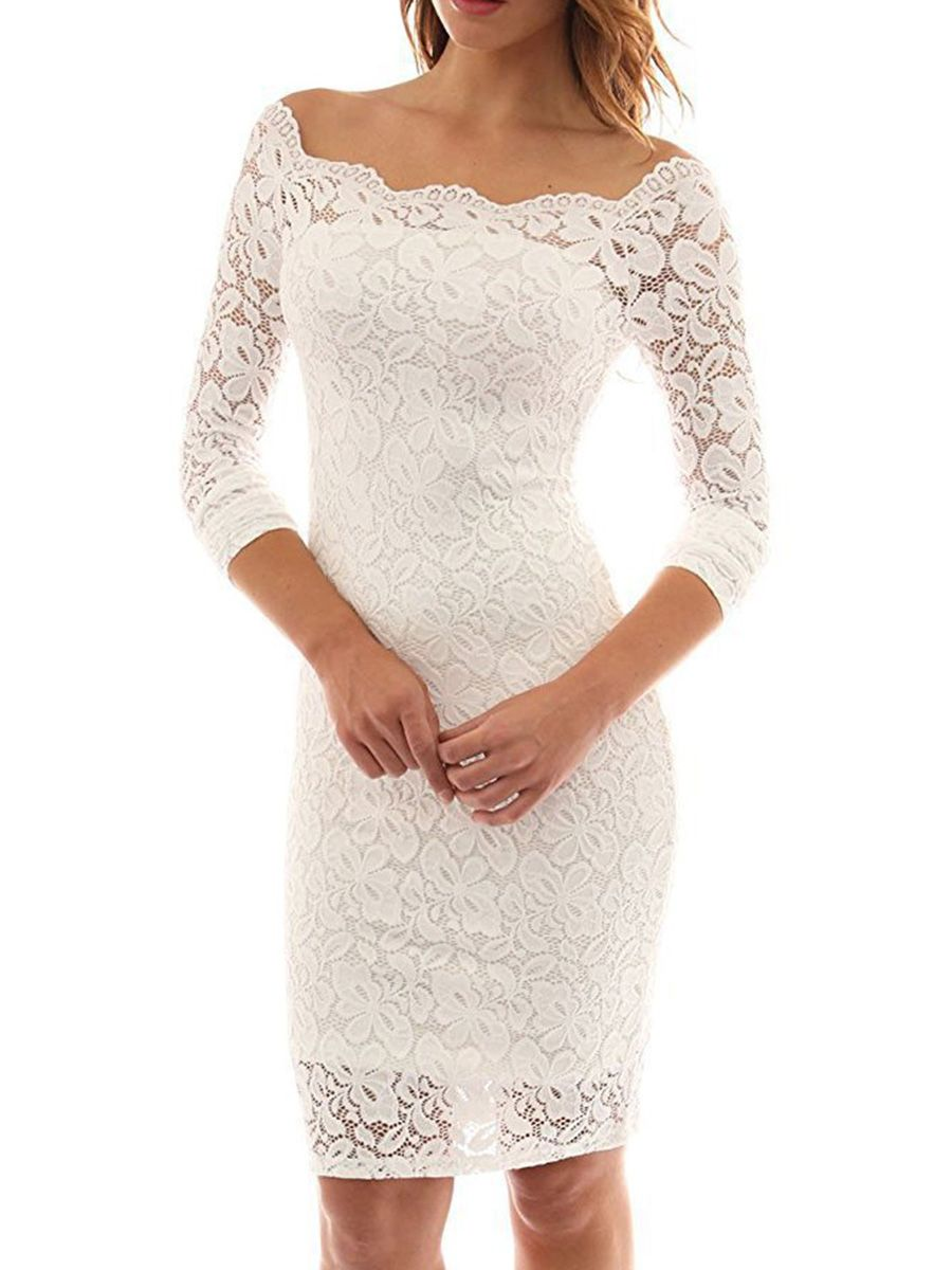 Shoespie Slash Neck Hollow Wedding Backless Lace Bodycon Dress White Lace Prom Dress Prom Dresses Long With Sleeves White Lace Midi Dress [ 1200 x 900 Pixel ]