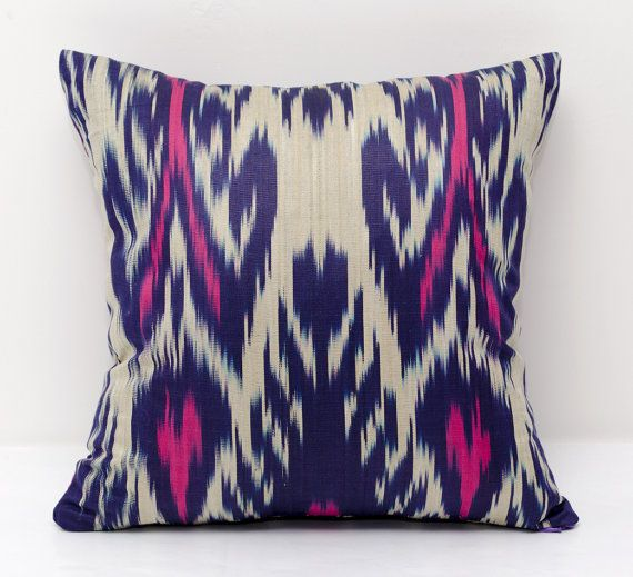 15x15 pink violet beige ikat pillow cover pink pillows by SilkWay