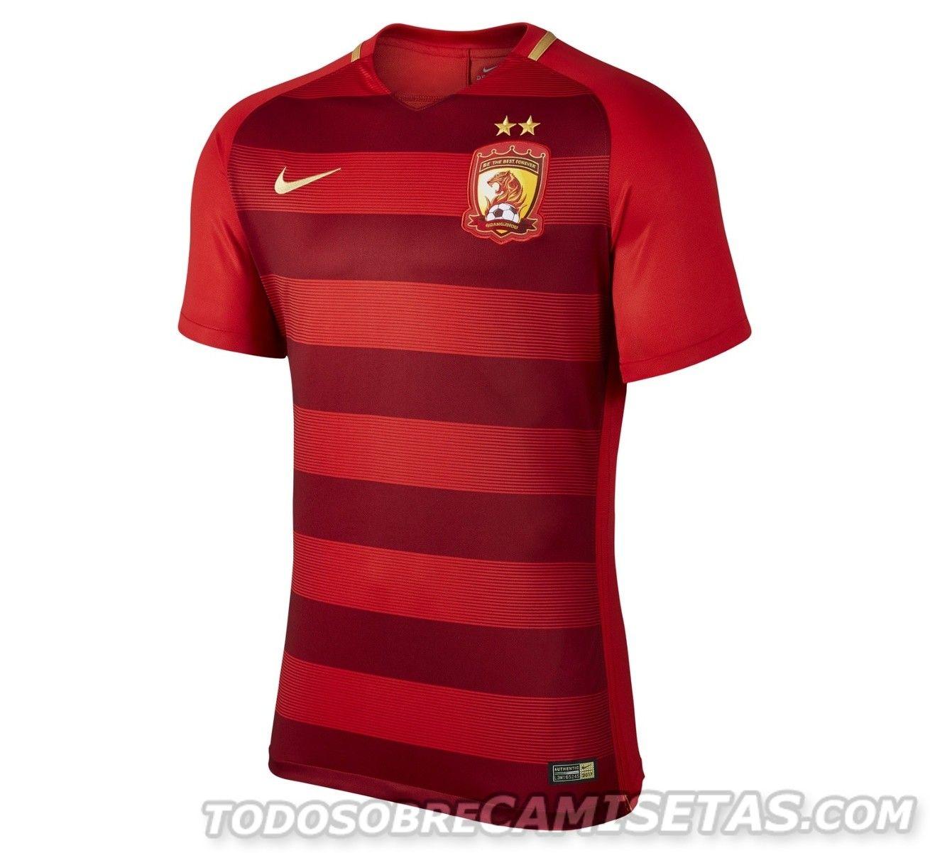 Guangzhou Evergrande Nike 2017 Home Kit Soccer shirts, Mens