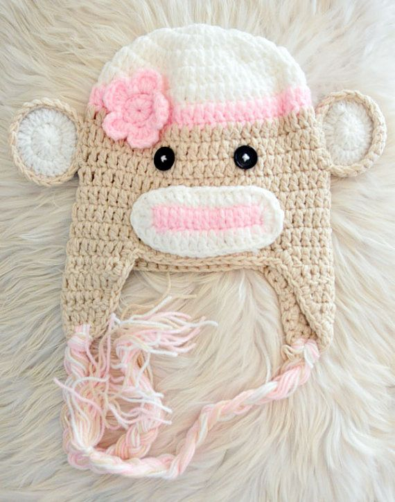 bb0ebf4d1a0 Crochet pink sock monkey animal beanie hat with flower for baby girl ...