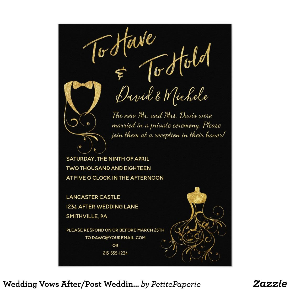 Wedding Vows After/Post Wedding Party Invitation Zazzle