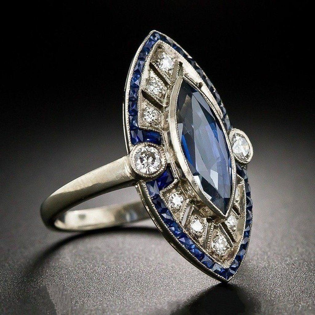 Ladies Art Deco 925 Sterling Silver Blue /& White Sapphire Full Eternity Ring