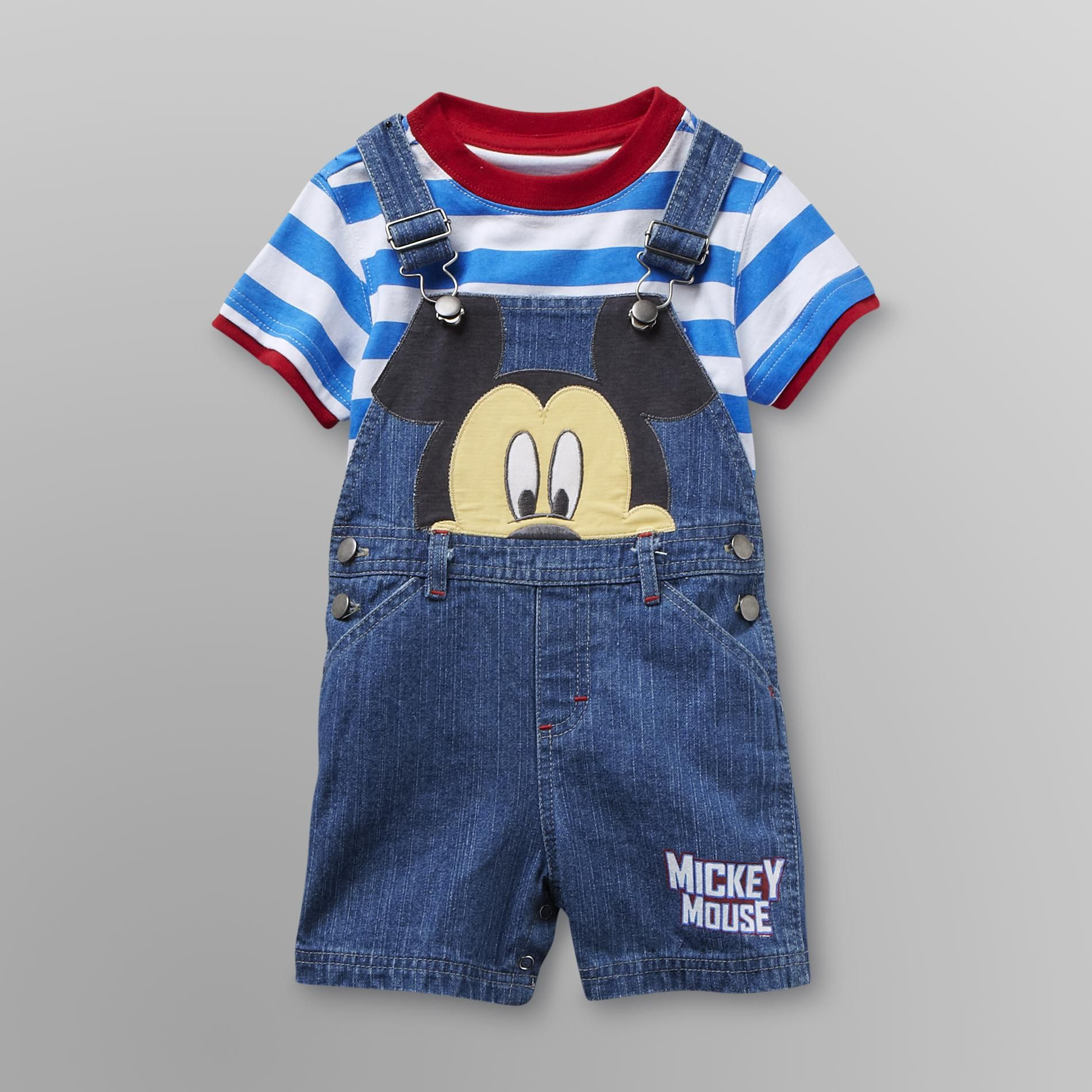 Disney Baby Mickey Mouse Infant Boy's Overalls Shorts Set - Disney Baby