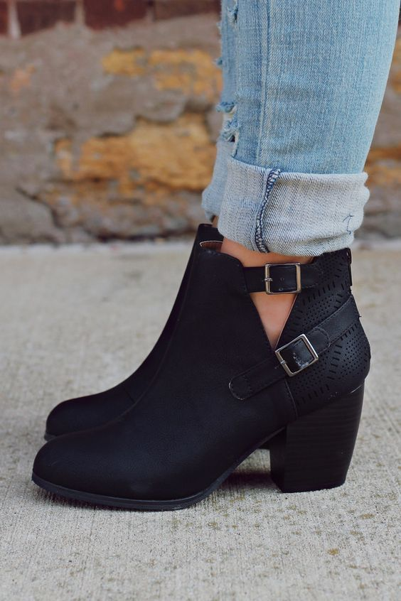 Leather black shoes, buckles – Shoes Fashion & Latest Trends. Black BootsBlack  Booties OutfitAnkle ...