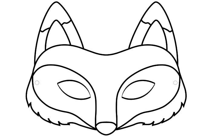 Slobbery image with printable fox mask