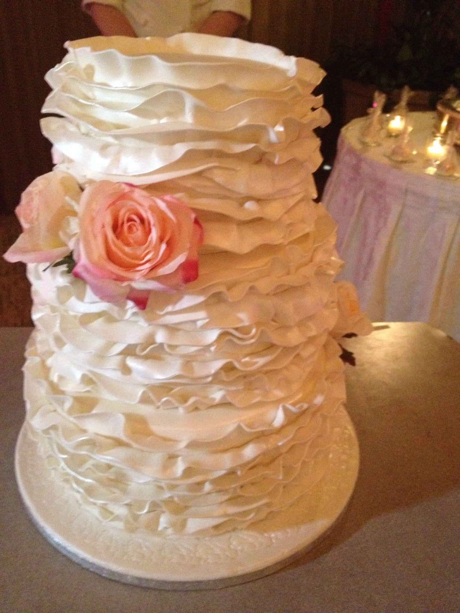 3 tired ruffled wedding cake cake wedding cakes