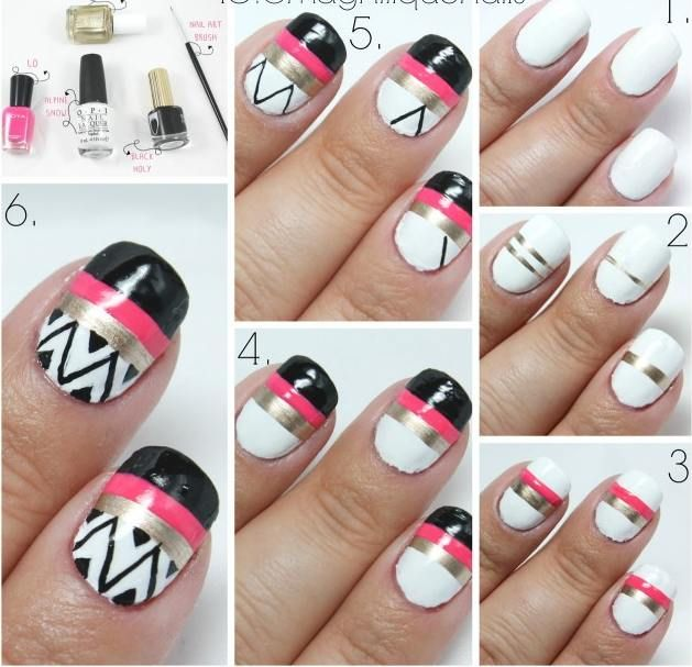 Explore Modern And Cute Step By Step Nail Art Designs Tutorials To Make At  Home With Pictures.Nail Art With Scotch Tape, Laces And Brushes Part 37