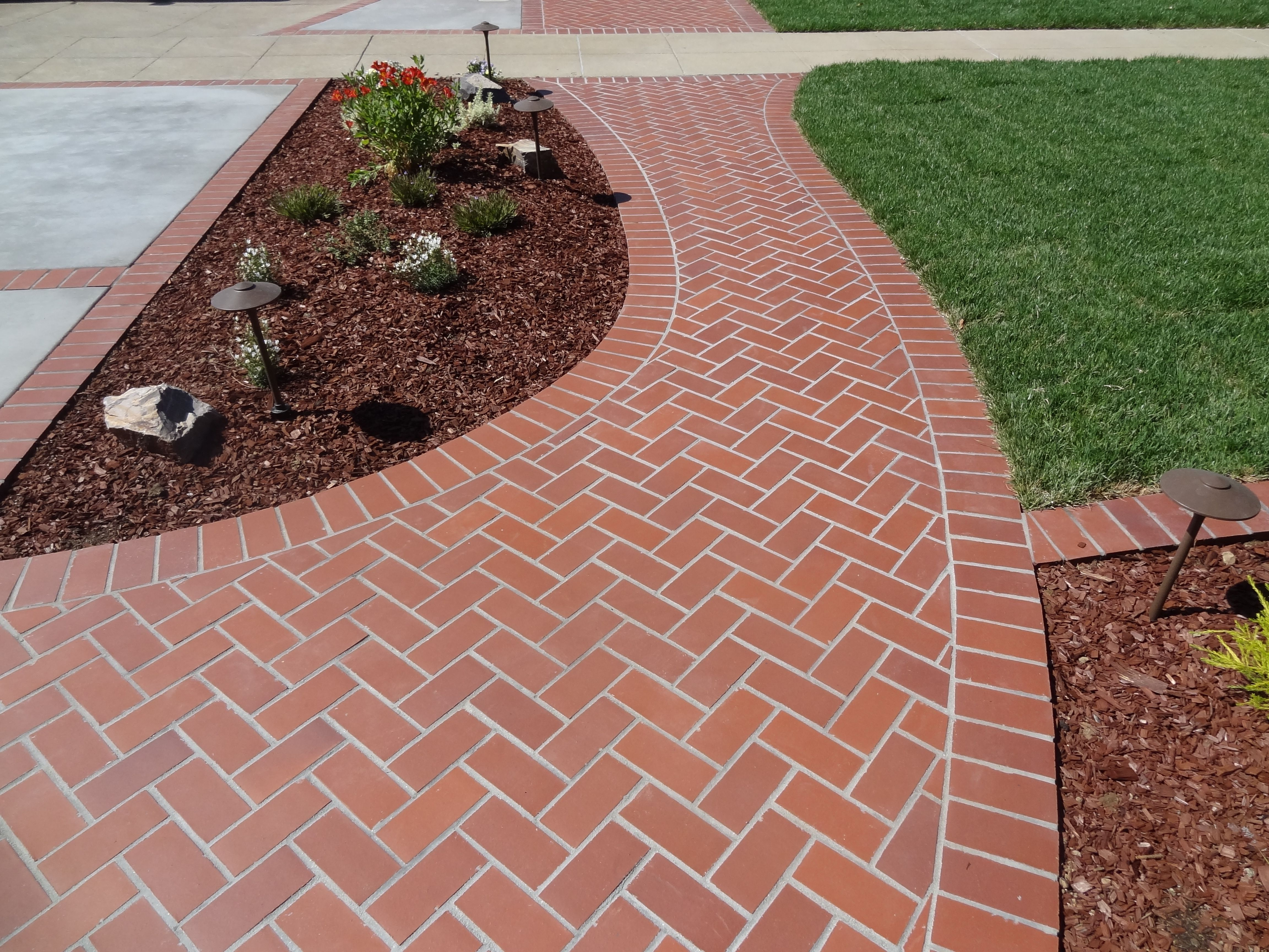 herringbone brick sidewalk outdoor ideas