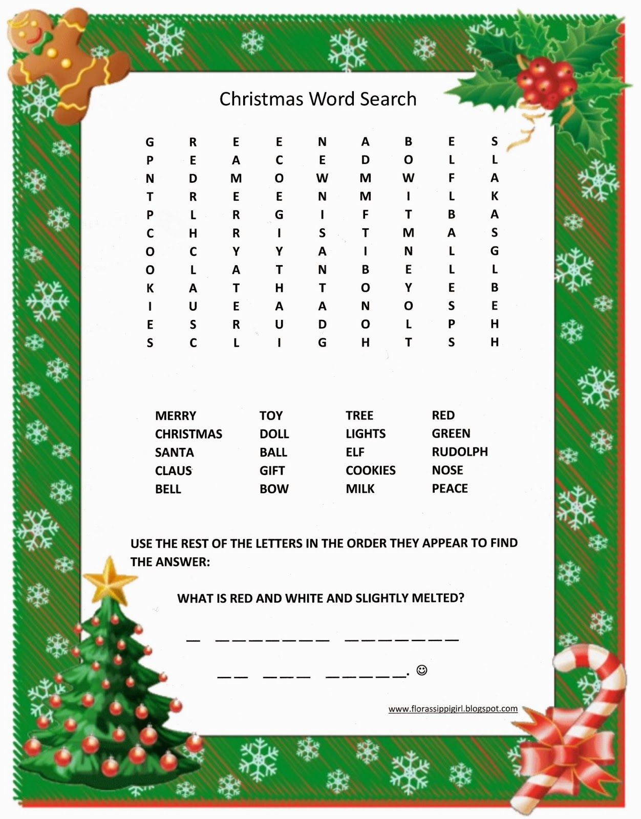 florassippi girl christmas word search free printable - Christmas Words That Start With Z