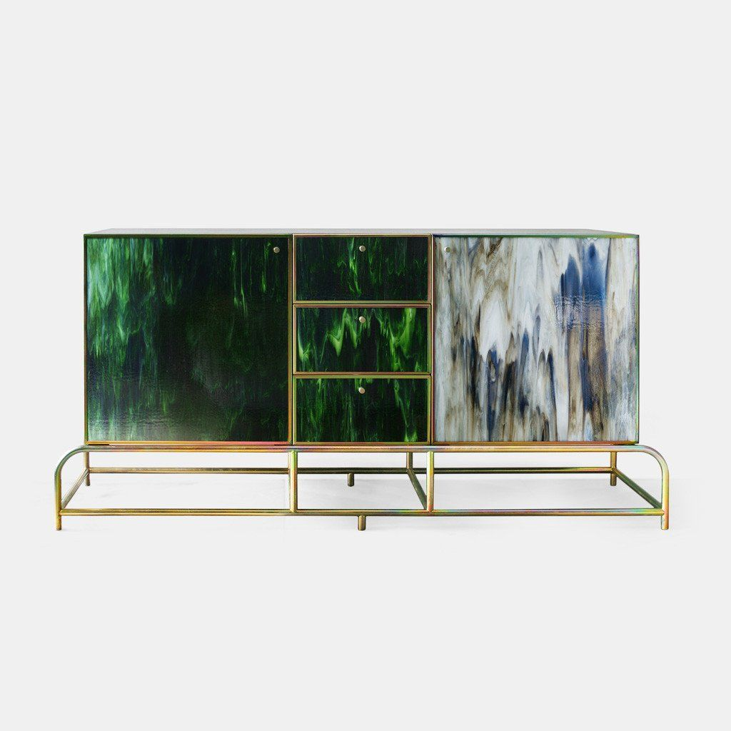 A Unique Cabinet Made Of Handmade Fused Glass And Galvanised Steel. A  Statement Piece With An Elegant And Sophisticated Look.