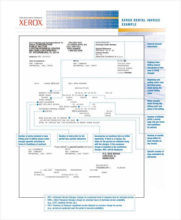 Xerox Rental Invoice Template Example Using The Rental Invoice Template In All Formats For Your Business The Invoice Template Statement Template Templates