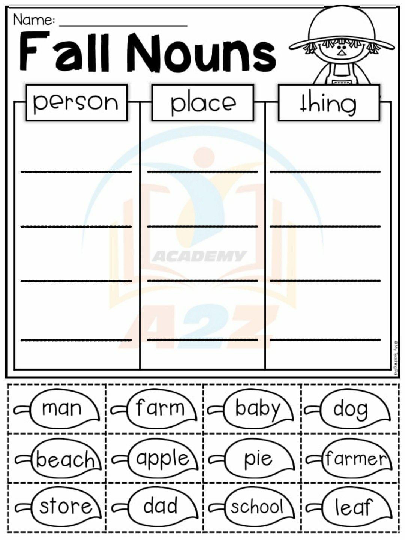 Grade 1 English Grammar Worksheet Nouns In 2020 1st Grade Worksheets English Grammar Worksheets Person Place Thing