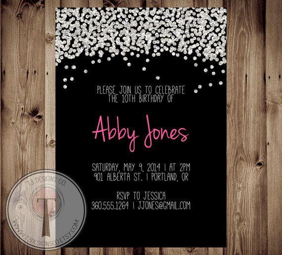 Confetti Birthday Invitation Bright Invite Girls Tween 30th 40th 21st Glitter Party