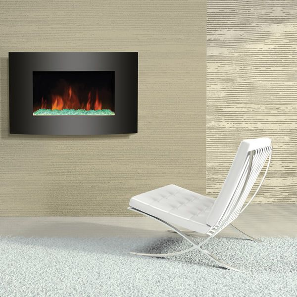 Amantii 35 X 22 Wall Mount Convex Front Electric Fireplace Contemporary Electric Fireplace Contemporary Fireplace Installing A Fireplace