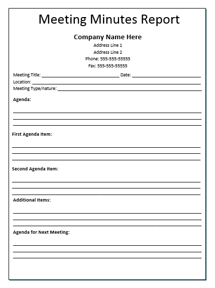 Meeting Minutes Report Template. Business ...  Business Meeting Report Template