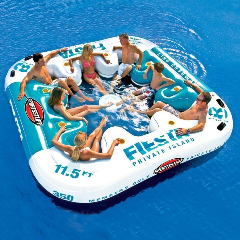 Inflatable Lounge Pool 8 Person Floating Cooler Raft Swimming Party Float Island Inflatable Island Lake Toys Floating Lounge