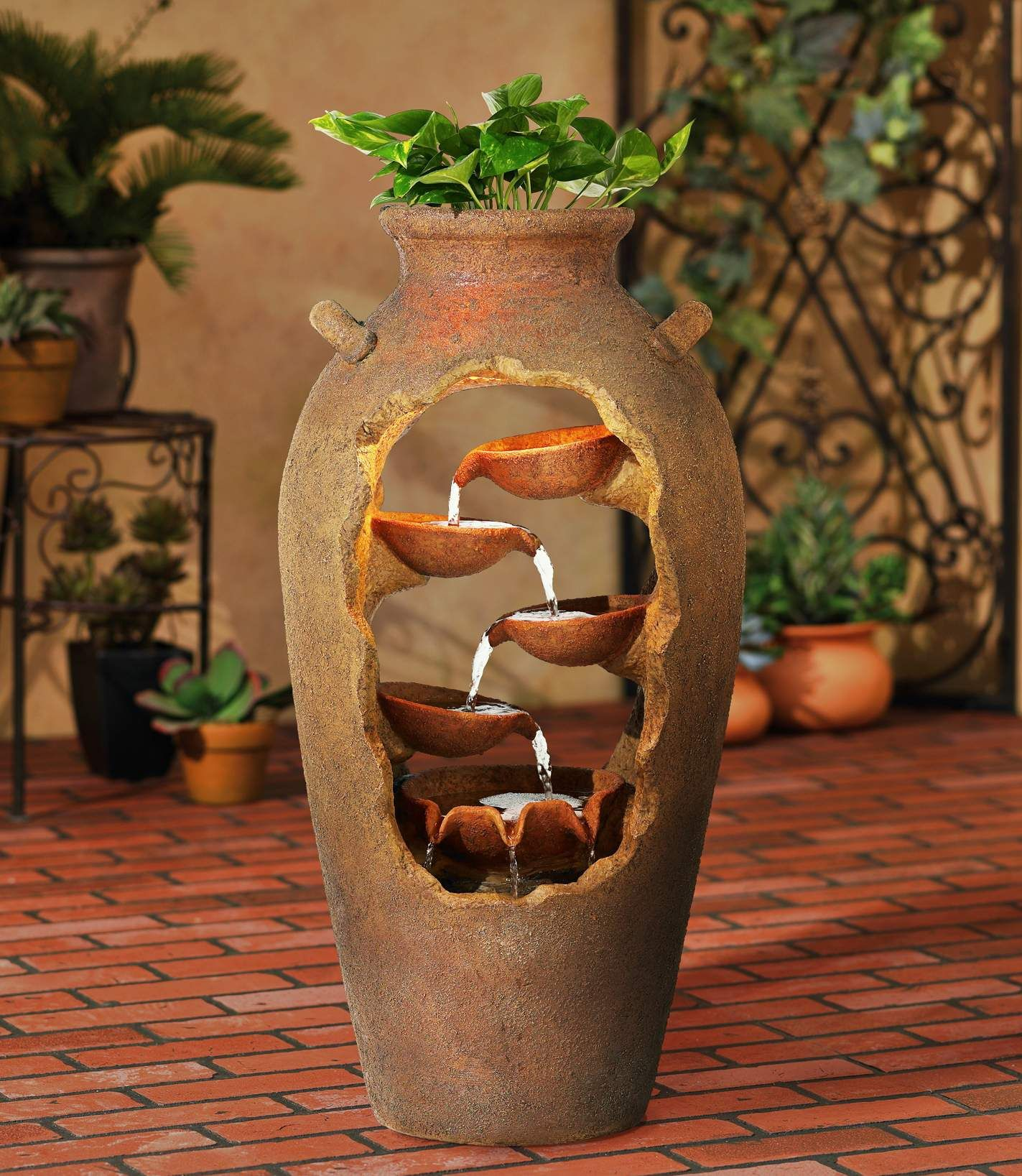 Cascade 33 High Rustic Urn Fountain With Planter And Light R5935 Lamps Plus Tabletop Fountain Indoor Fountain Diy Fountain