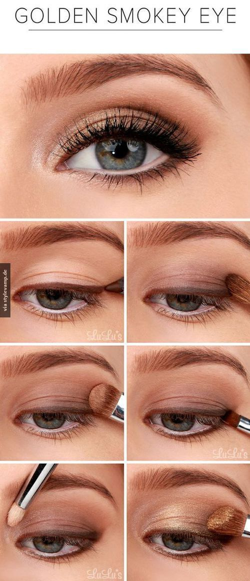 Pretty Golden Smokey Eyes Tutorial Eyeshadows Pinterest
