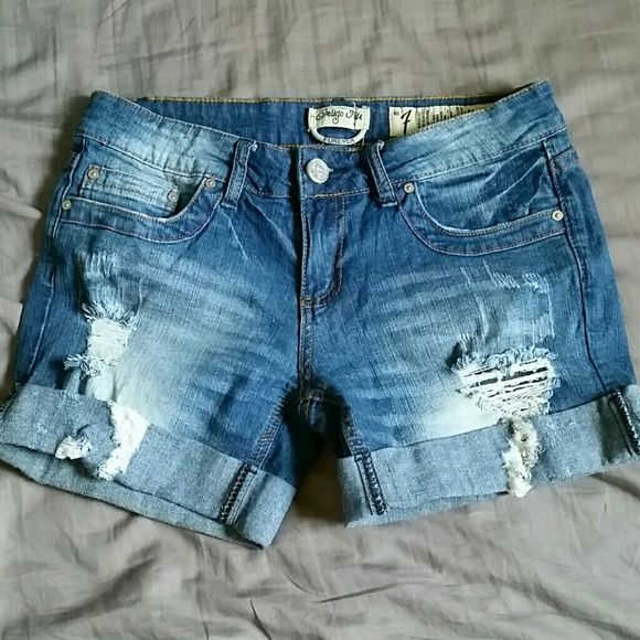 Indigo Reindestroyed cuffed jean shorts Denim Destroyed distressed cuffed jean shorts. Size 7 Indigo Rein Shorts Jean Shorts