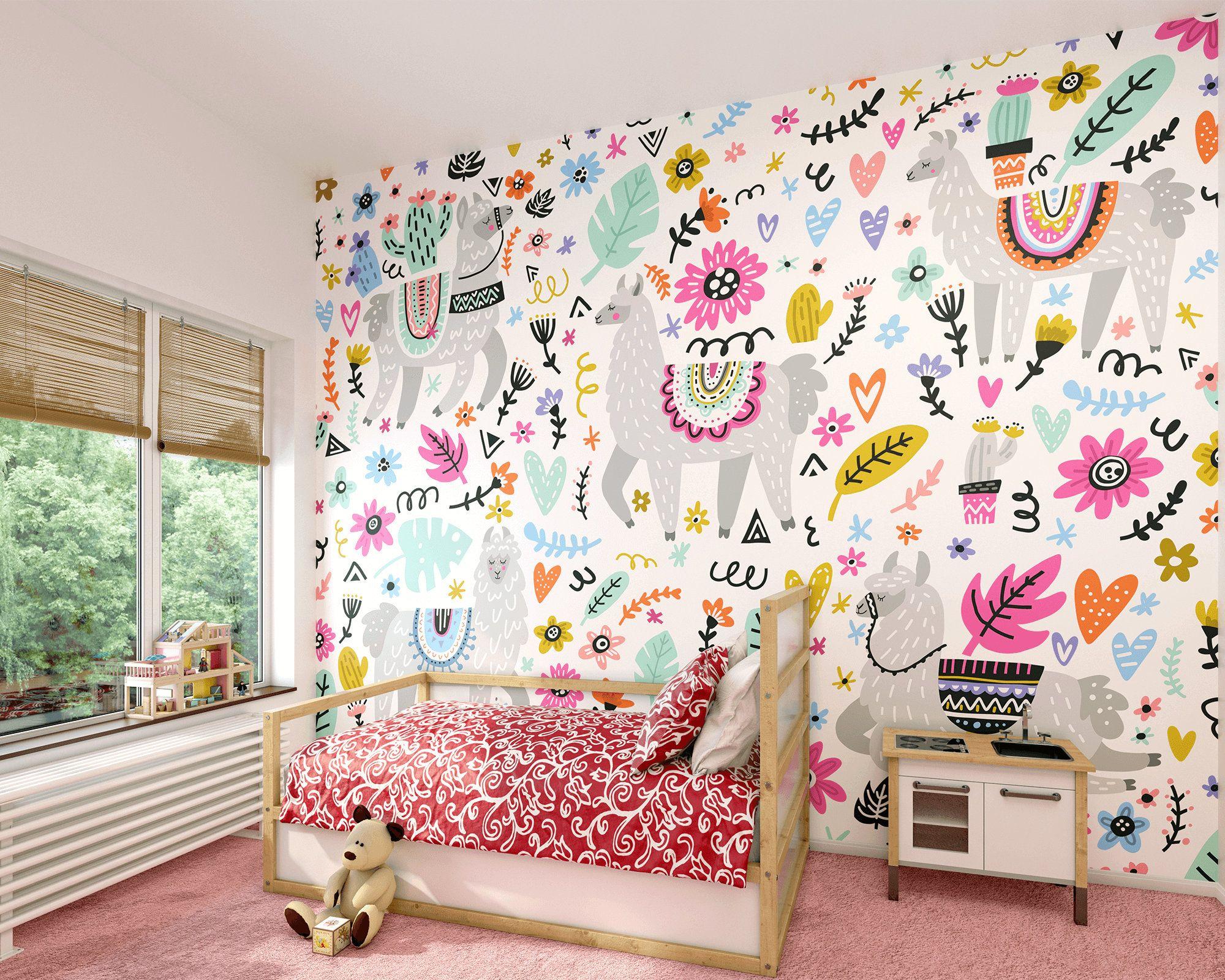 Llama Wallpaper Mural Cute Llama Girls Bedroom Wall Decor Etsy Girls Room Wallpaper Wall Decor Bedroom Girls Kids Room Wall Decor