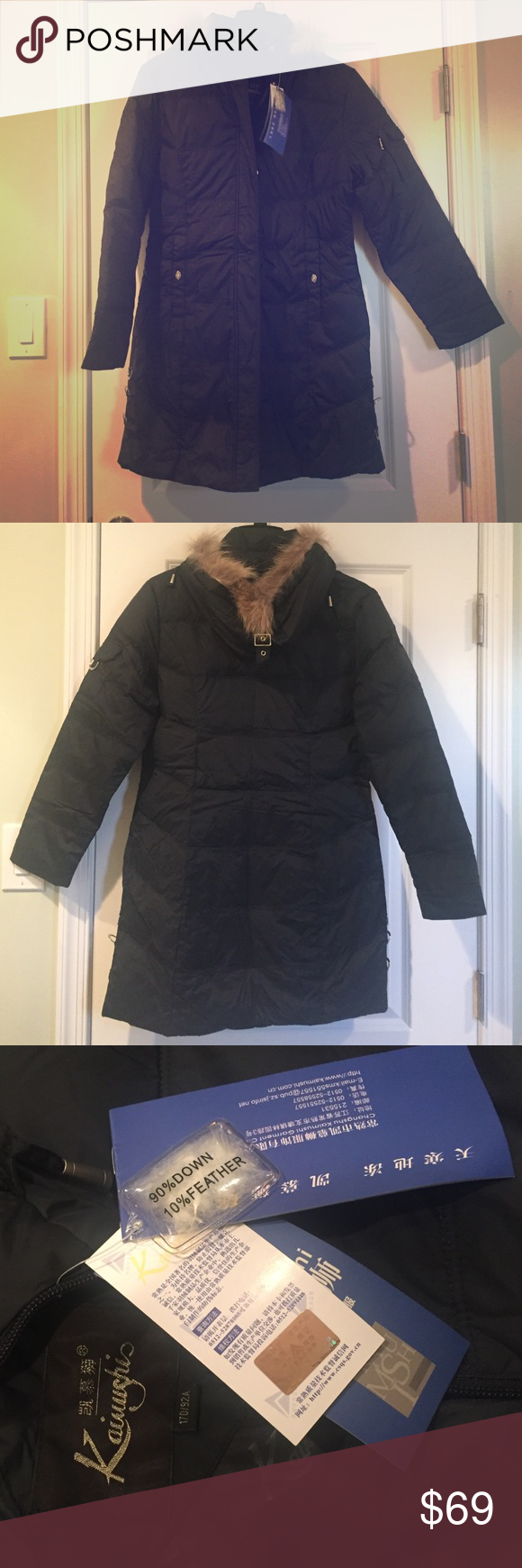 "🎉Women's winter down jacket Brand new with tags. Falls a few inches below the buttocks and I'm 5'4"". 90% down and 10% feather filling will keep you warm this winter. Removable faux fur trimmed hood. Color is black with a very subtle hint of blue. Fits like a small 4/6. Tagging for exposure only. Not actual brand. Calvin Klein Jackets & Coats"