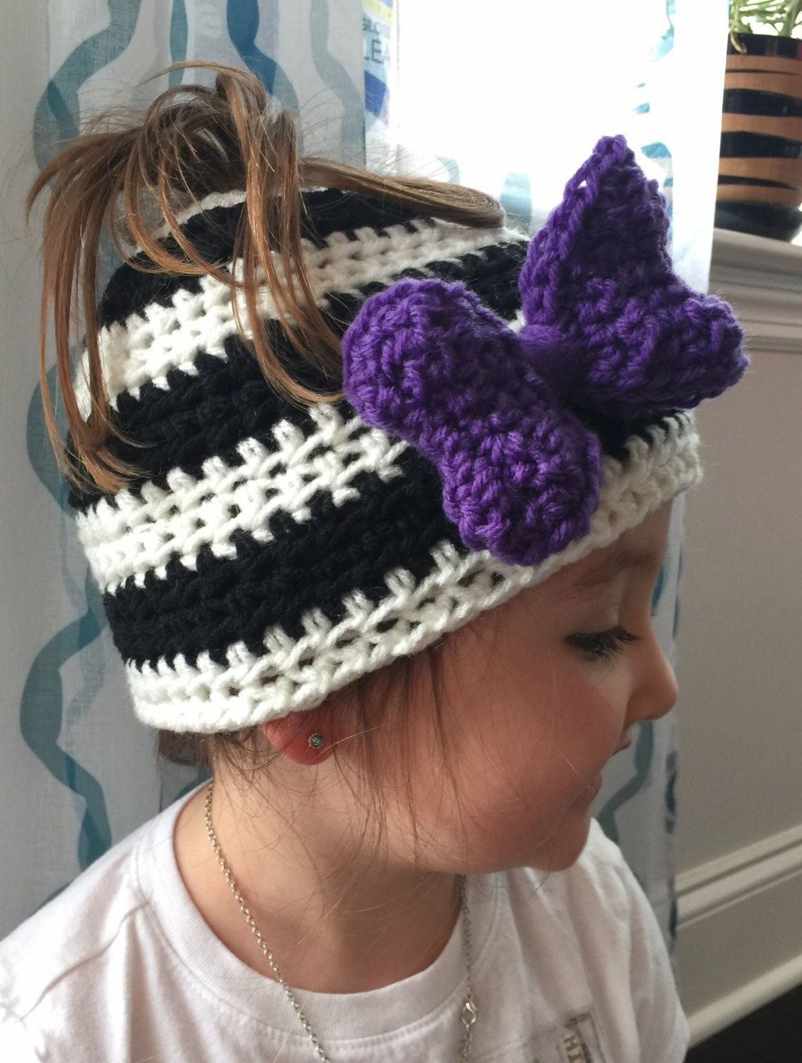 Kids messy bun hat with bow, 10% proceeds go to American Cancer Society. by AmberKendezDesigns on Etsy #kidsmessyhats