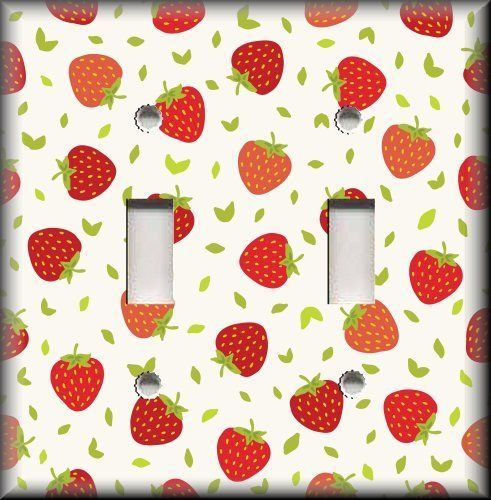 kitchen home decor light switch plate cover red strawberries kitchen lunagalleryswitchplates - Strawberry Kitchen Decoration
