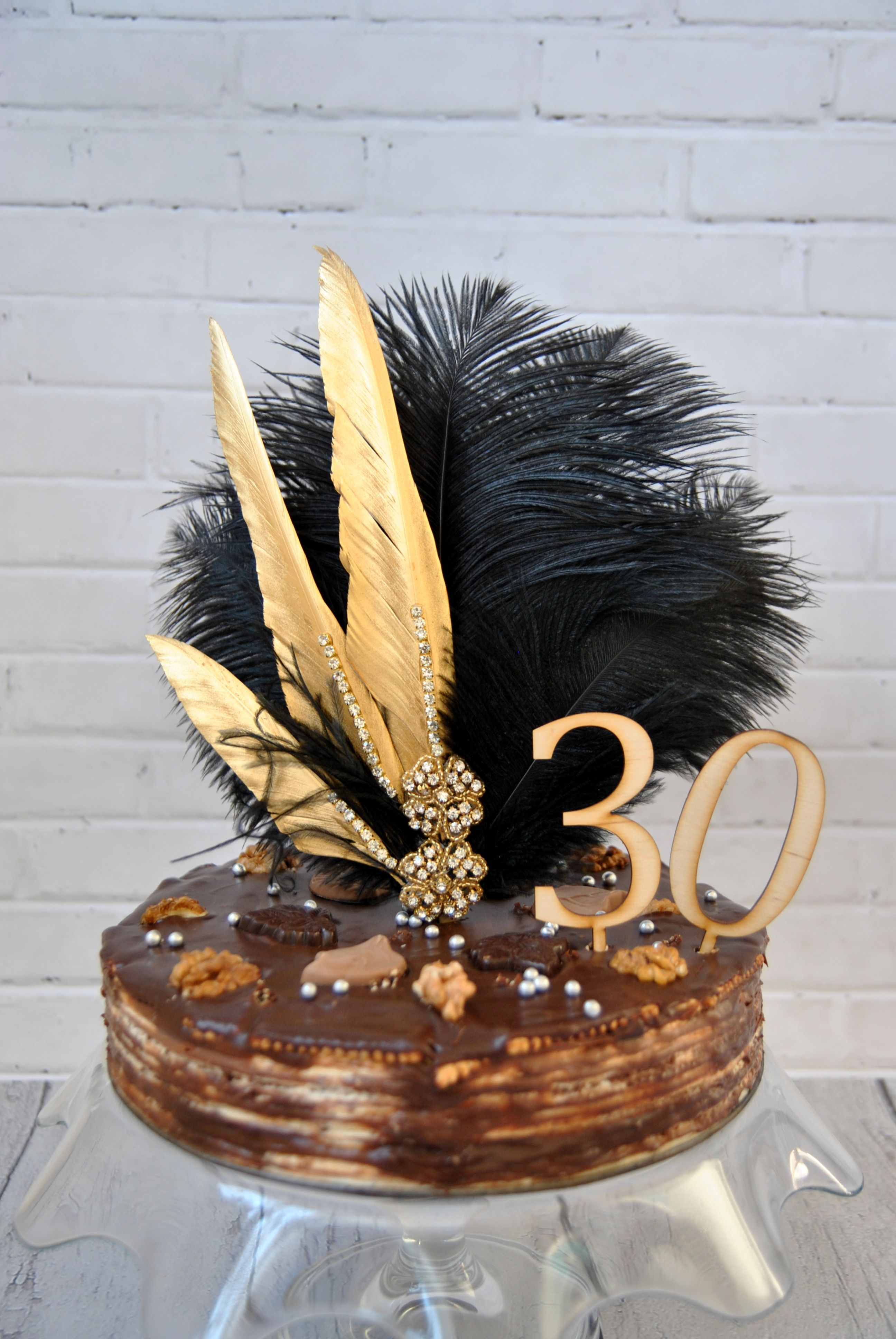 Gold Feather Cake Topper Gatsby 1920s Customized Birthday ...