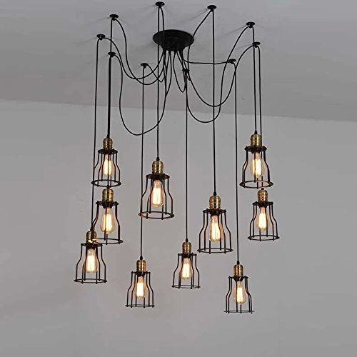 Style industriel salon salle manger bar lustre de fer 10 lumi res amazon f - Suspension luminaire style industriel ...