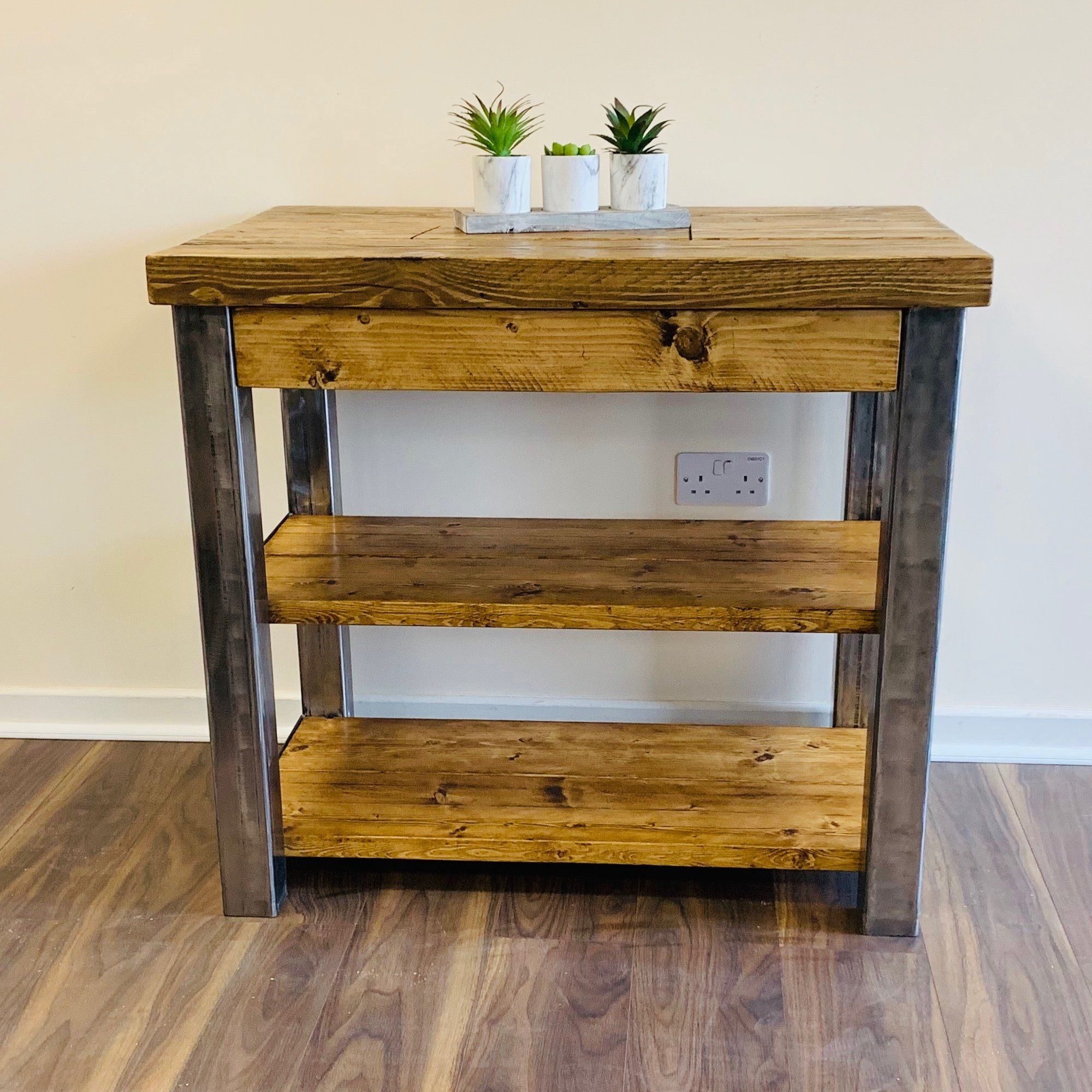 Industrial rustic kitchen island ki001 solid base with