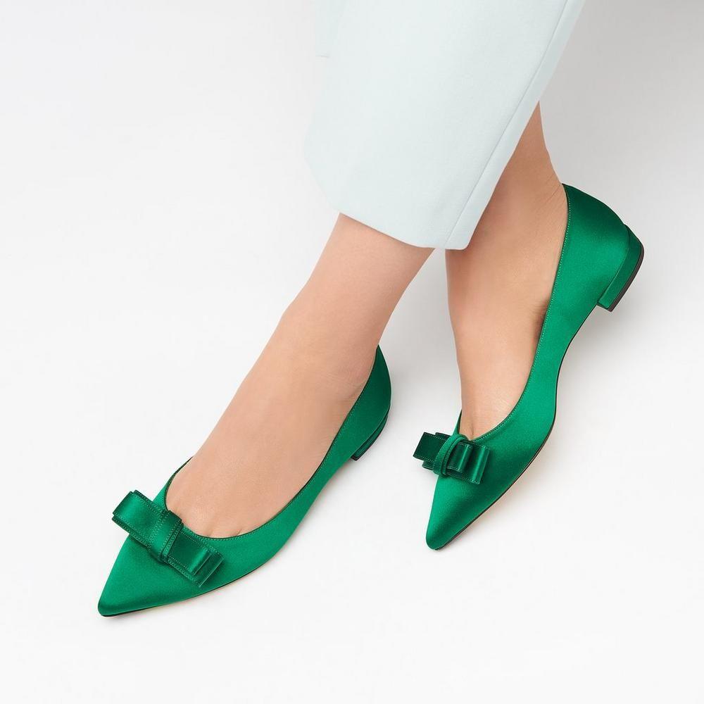 7e850d61a1e28 Elisa Green Satin Flats   Shoes   L.K.Bennett   Footwear   Shoes ...