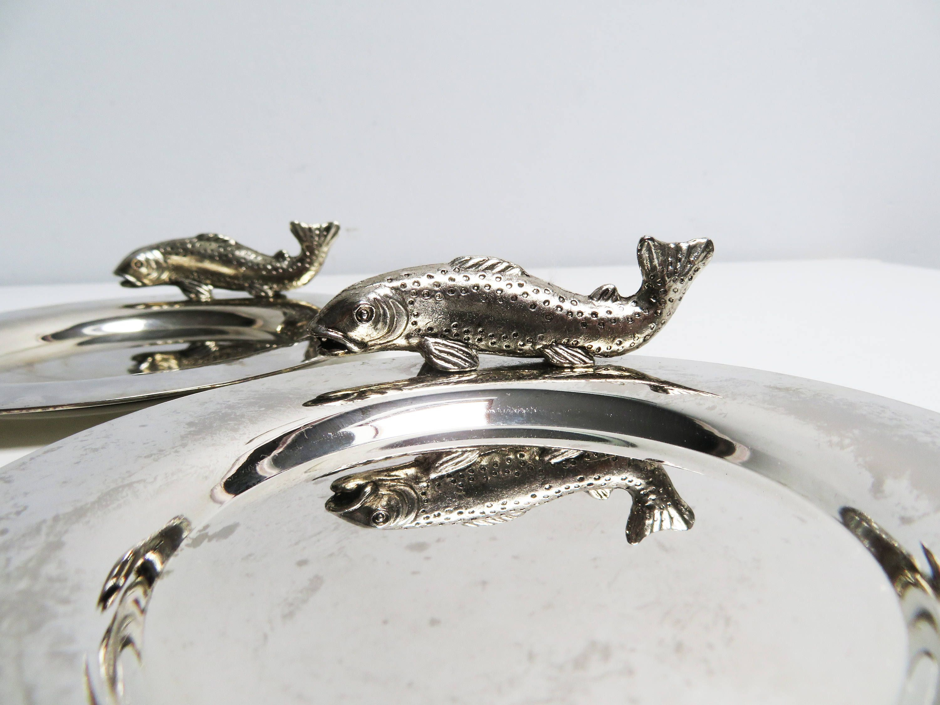 Fish Side Dishes Fish Plate Bottle Holders Silver Plate Vintage Silver Table Decorations Coasters Trays Silverware Tray & Four vintage silver plate fish dish fish tip tray fish bone dish ...