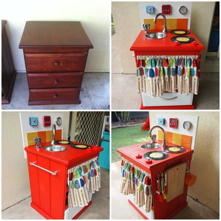 Kids Kitchen Before And After Made From Bedside Draws Diy