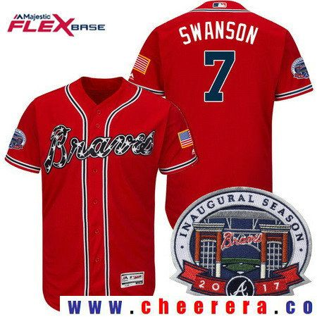 f50ecaa67 Men s Atlanta Braves  7 Dansby Swanson Red 2017 Inaugural Season Patch  Stitched MLB Majestic Flex Base Jersey