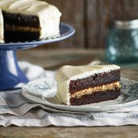 """Black Magic Cake"" with Butterscotch & Cream Cheese Frosting"