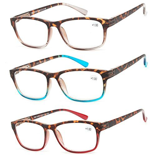 5b10ce59b2e Reading Glasses 3 Pair Great Value Stylish Readers Fashion Men and Women  Glasses for Reading 1.5
