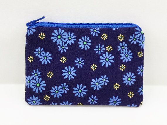 SALE Blue Daisy Coin Purse Small Zipper Pouch Card by ZestyNotion