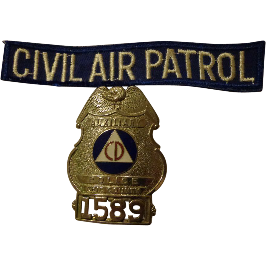 WWII Civil Air Patrol Set w/ Patch & Badge Erie County New