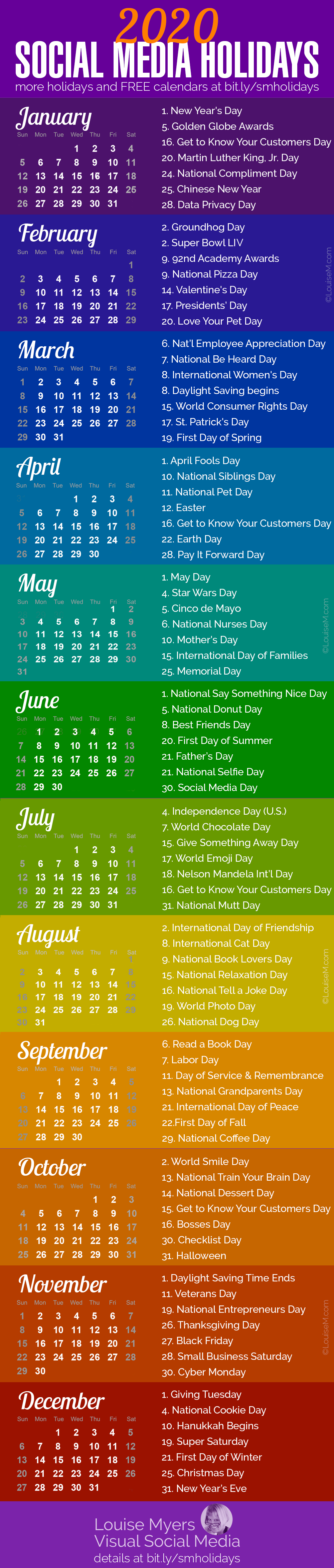Social media marketing tips: These 2020 holidays are essential for spicing up your content marketing.… | Social media, Social media calendar, Social media marketing