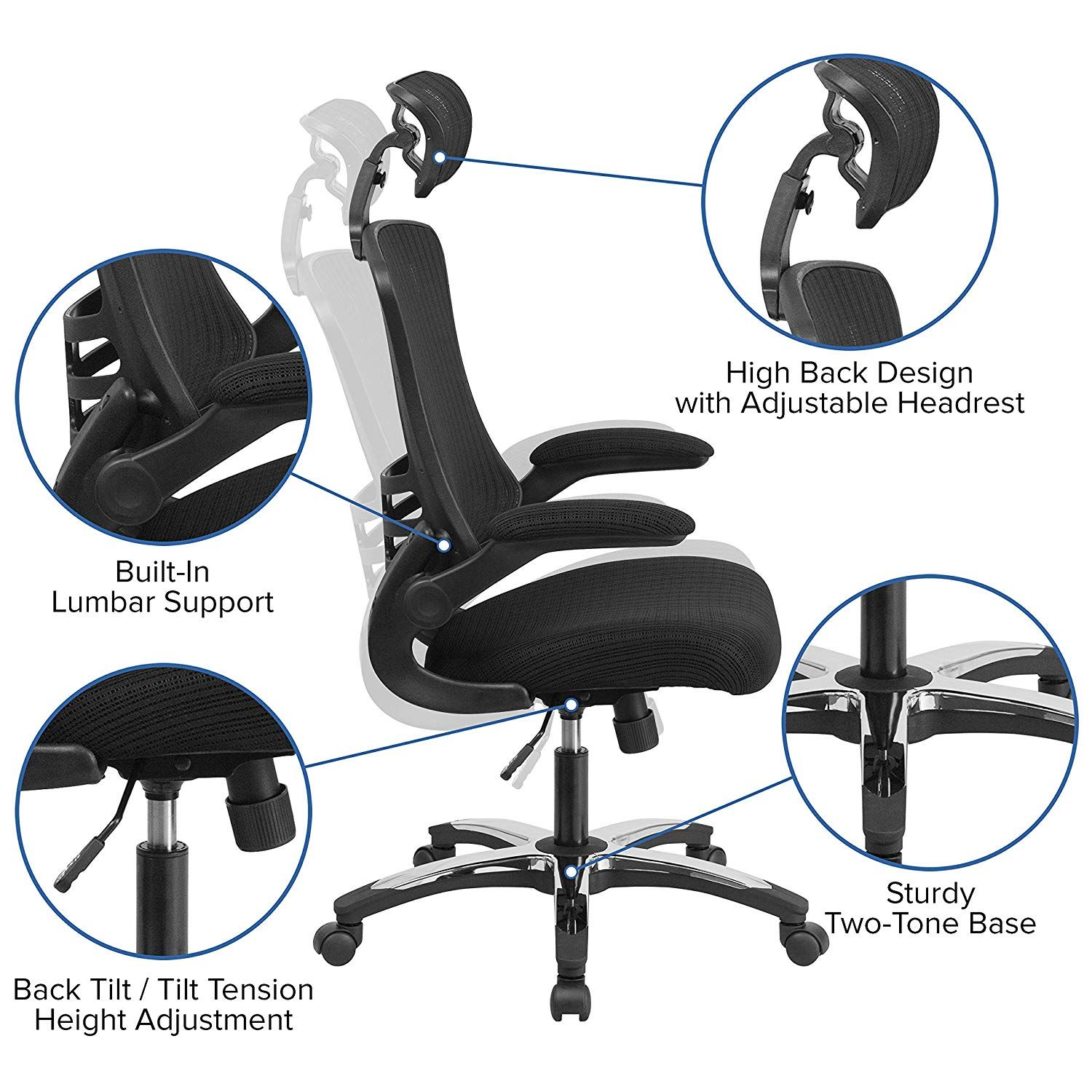 High Back Office Chair High Back Executive Office And Desk Chair With Adjustable Headrest Furniture Collection Mesh Computer Chair Swivel Office Chair