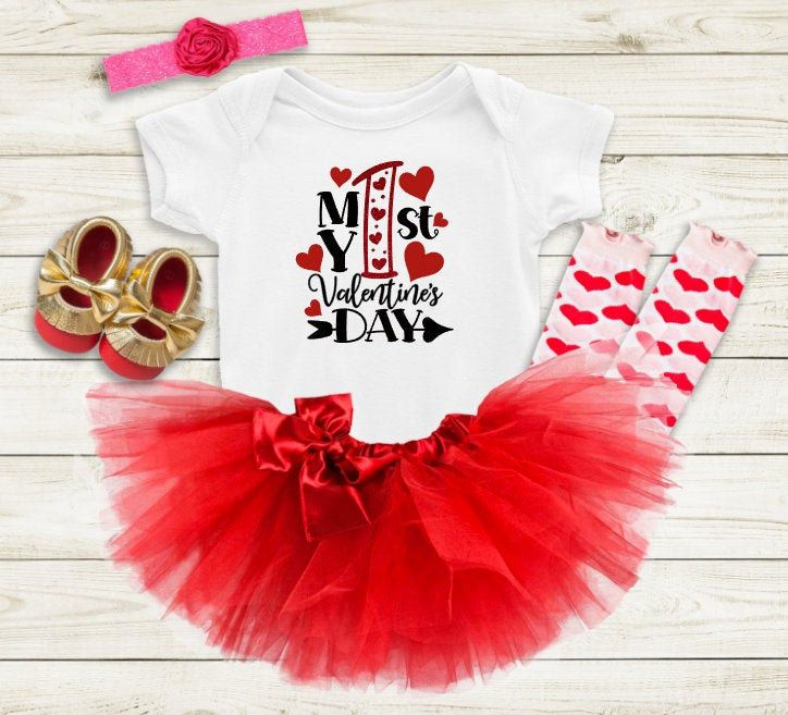 My 1st Valentine's Day, Baby Girls Valentines Outfit