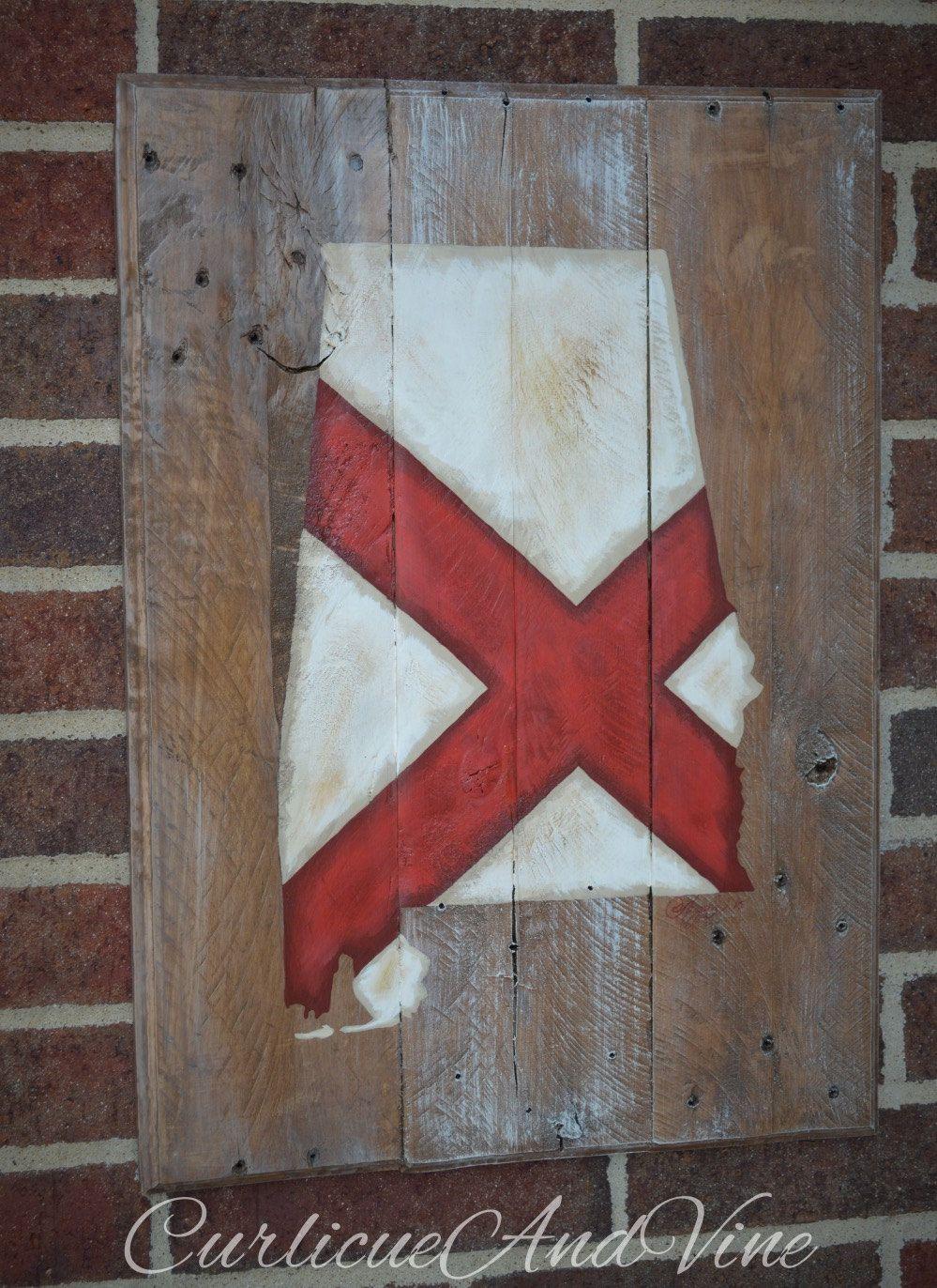 Alabama Man Cave Decor : Alabama state flag pallet wood sign board rustic