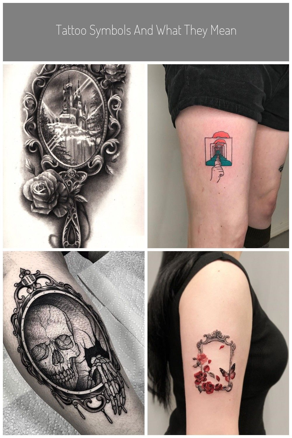 Nice Victorian Hand Mirror Tattoo Design Mirror Tattoo Tattoo Symbols And What They Mean In 2020 Mirror Tattoos Symbolic Tattoos Venetian Glass Mirror