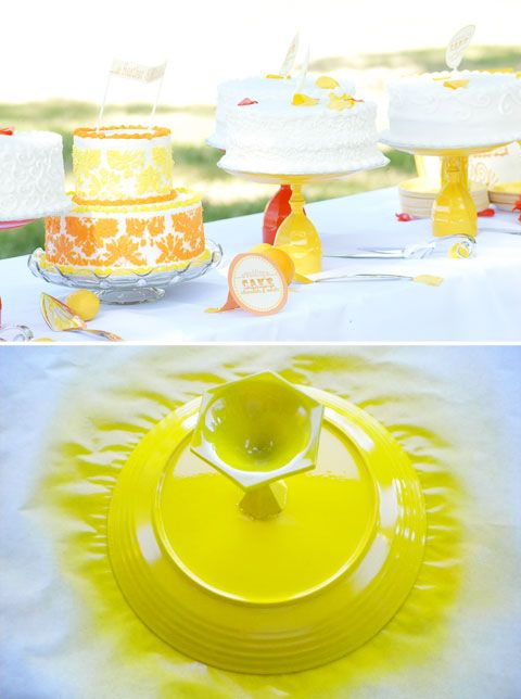 DIY cake stands made from Goodwill plates/wine glasses/candlesticks - whatever suits your fancy! Spray painted to match any party theme. So pretty!