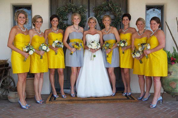 grey and yellow bridesmaid dresses