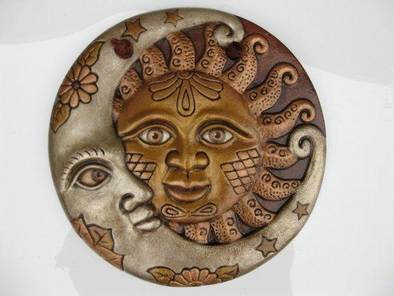 Decorative Sun Moon Wall Hanging Home By Pleasureforthesoul Sun Art Pottery Sun Sun Moon