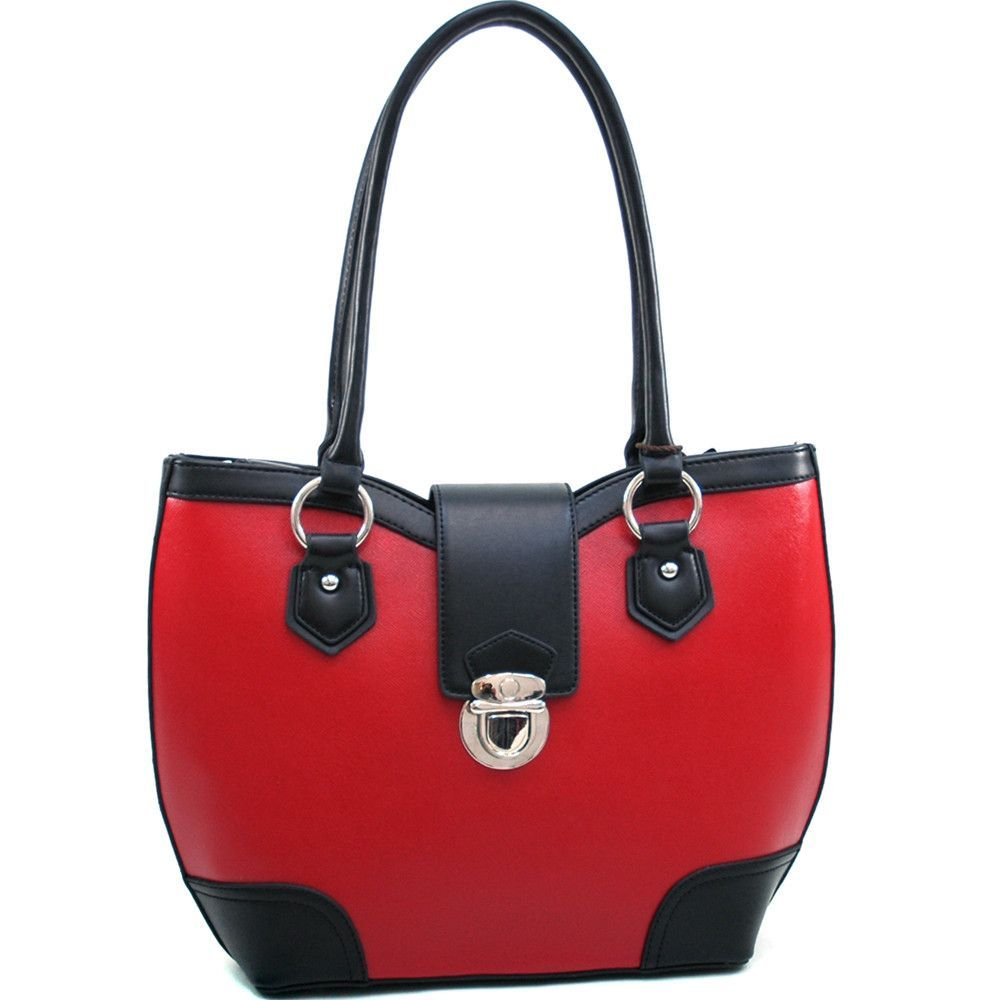 Dasein Classic Two Tone Shoulder Bag w/ Buckle Snap Accent - Red/Black