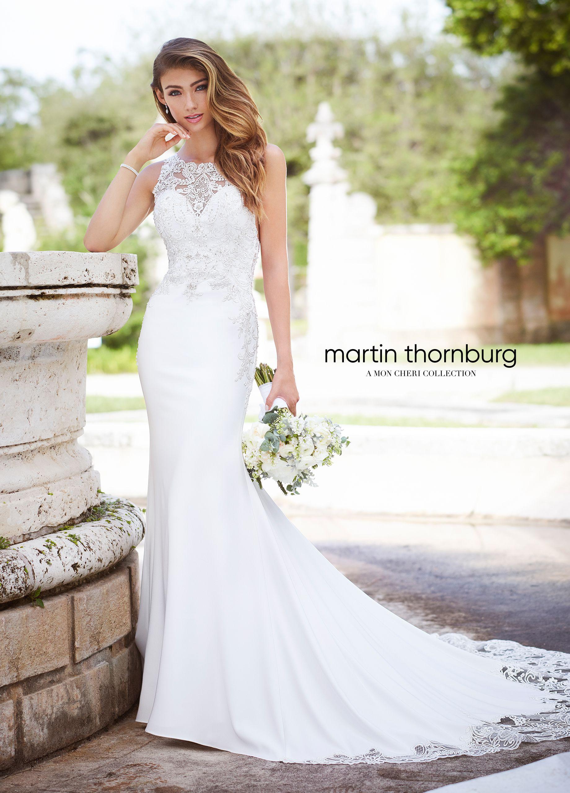 Sleeveless lace high neck crepe fit u flare wedding dress wedding