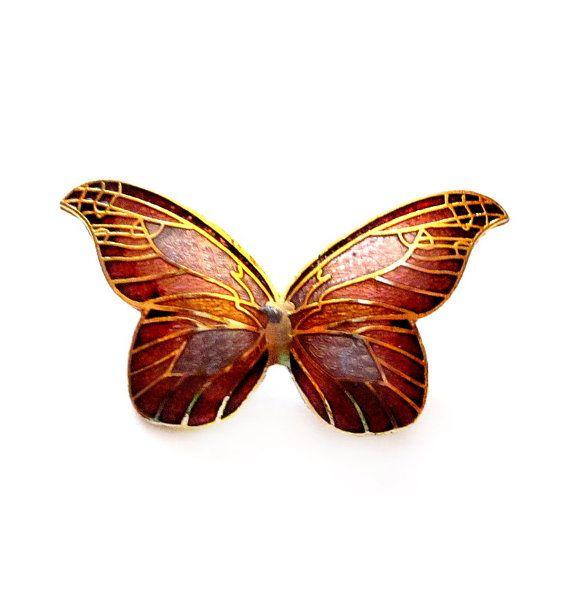 Vintage Butterfly Brooch, Cloisonne Enamel Pin