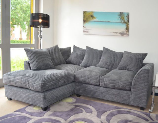 new dylan jumbo cord corner sofa in grey settee. Black Bedroom Furniture Sets. Home Design Ideas